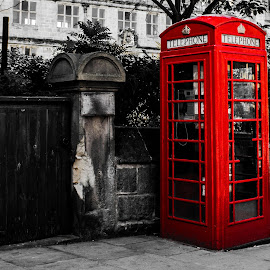 phone call by Edgar Photos - City,  Street & Park  Street Scenes ( england, phone, red, phone bo, street )