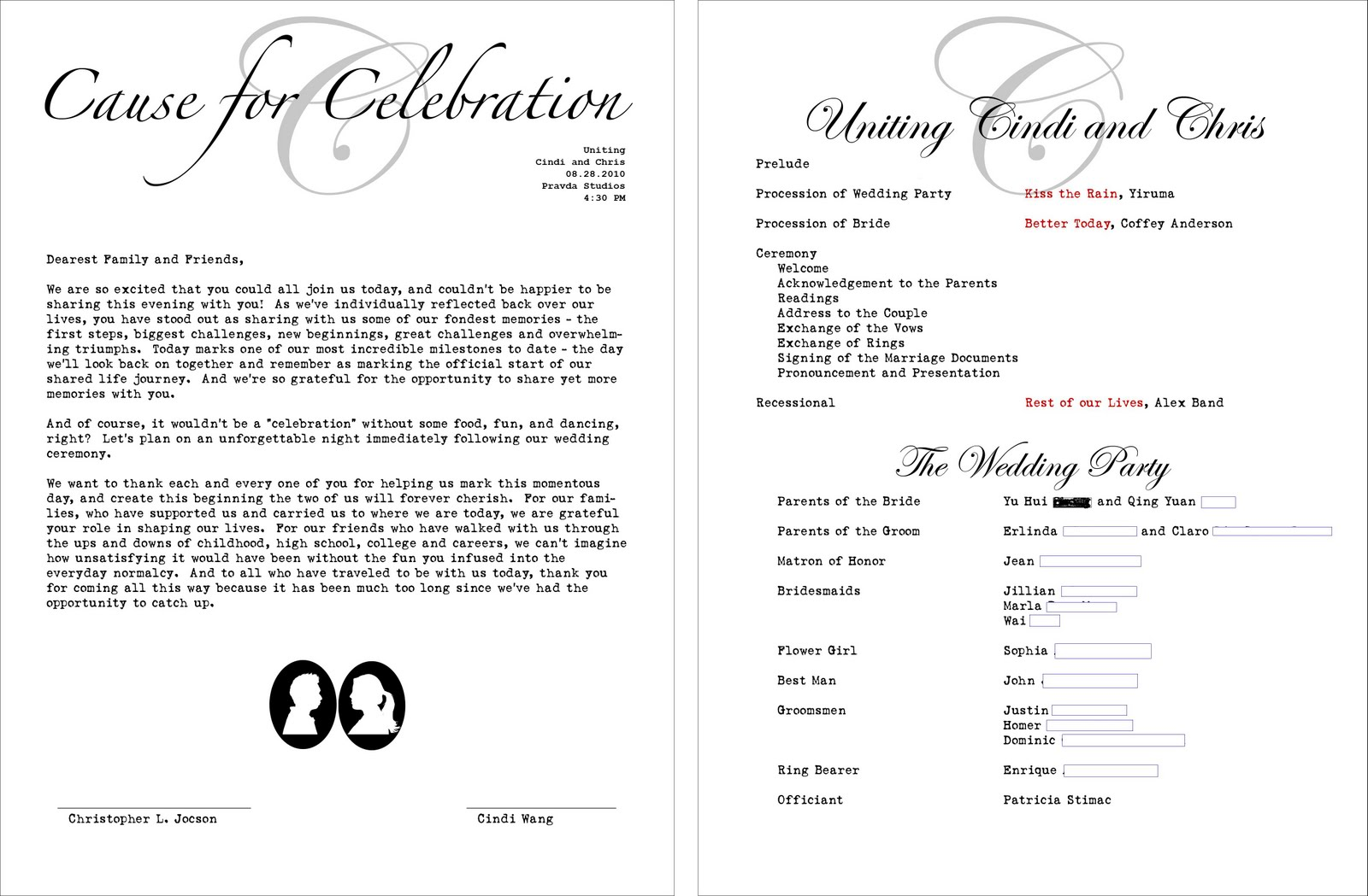 wedding program cover pictures