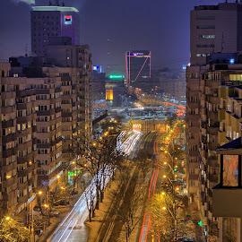 Bucarest's center by Jeremy Larrumbe - City,  Street & Park  Skylines ( building, traffic, bucarest, cars, night, romania, architecture, light, city )