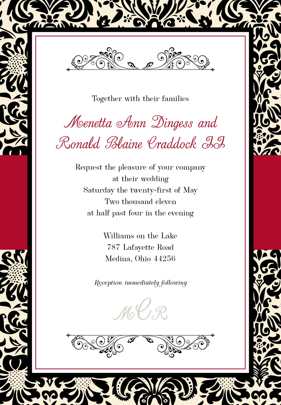 Red White Black Wedding Invitations was best invitations example