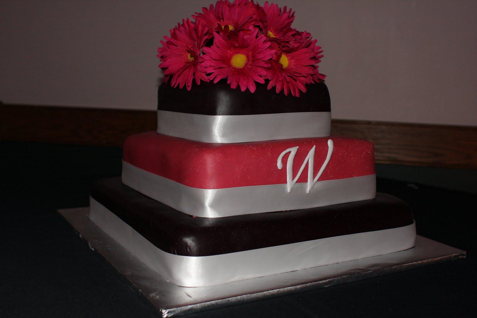 Pink Black Wedding Cake