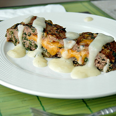 Cheddar-Stuffed Florentine Meatloaf with Creamy Potato Gravy