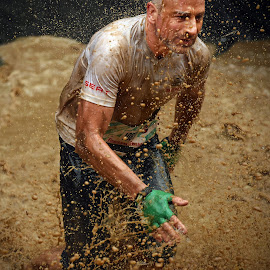 The Green Glove ! by Marco Bertamé - Sports & Fitness Other Sports ( water, splatter, splah, differdange, 2015, green, number, waterdrops, soup, running, stron, luxembourg, muddy, determined, drops, glove, brown, 1988, strongmanrun, man )