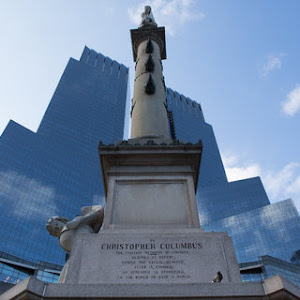 To Christopher Columbus The Italians resident in America, Scoffed at before, During the voyage, menaced, After it, chained, As generous as oppressed, To the world he gave a world.