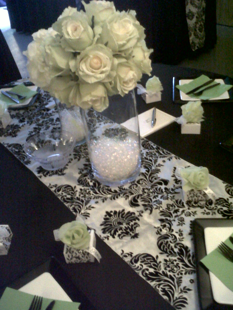 Our new black and white damask