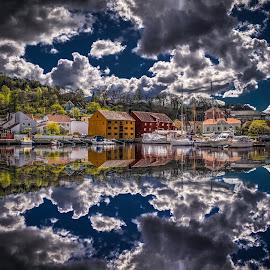 Halden, Norway 00 by IP Maesstro - Landscapes Waterscapes ( reflection, halden, harbor, ip maesstro, hdr, sea, boat, norway )