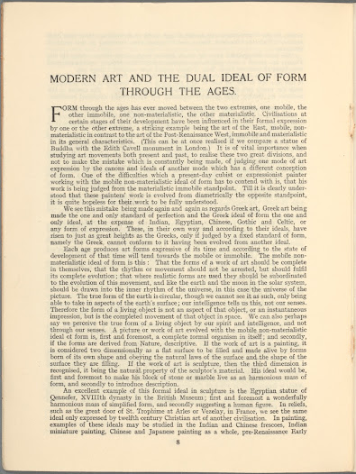 In this 1932 article, Jellett defends her art as part of an alternative tradition to the mimetic representation dominant in the 'Post-Renaissance West'. Her abstracted aesthetic, she argues, has more in common with 'Indian, Egyptian, Chinese, Gothic and Celtic' forms.