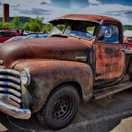 Rusty Chevy by Marco Bertamé - Transportation Automobiles ( 3100, red, pickup, chevrolet, chrome, bumper, rusty, chevy )