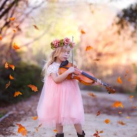 Prodigy by Liz Straight - Babies & Children Child Portraits ( child, music, winter, violin, child portrait, children, pink, kids )