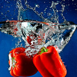 race to the ground.... by Pete G. Flores - Food & Drink Fruits & Vegetables ( otep autofocus splash dip drop, red bell pepper foods fruit, capsicums, water movement shadow light, vegetables, World_is_RED )