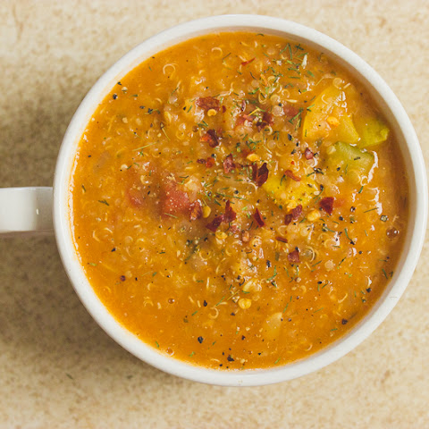 Vegetable, Quinoa, And Red Lentil Soup With Dill And Coriander