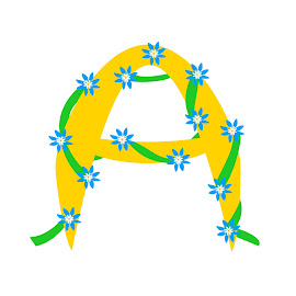 Letter A by Dipali S - Typography Single Letters ( nature, entwined, blue, flora, letter, calligraphy, yellow, typography, flower )