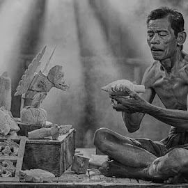 Making wayang by Syarif Rohimi - People Portraits of Men (  )