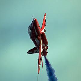 Red Arrow by Stuart Giblin - Transportation Airplanes ( red arrows, blue, red arrow, smoke, airshow, llandudno )