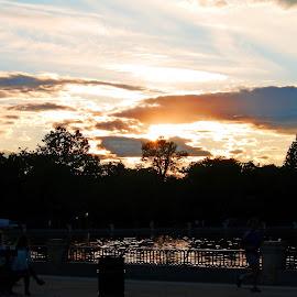 The Sunset at Madrid by Joatan Berbel - City,  Street & Park  Vistas ( park scene, sunsets, madrid, colorful, street photography )