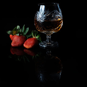 Cognac and strwberies by Cristobal Garciaferro Rubio - Food & Drink Alcohol & Drinks ( cup, fruit, glass cup, strawberries, cognac, strawberry, brandy )
