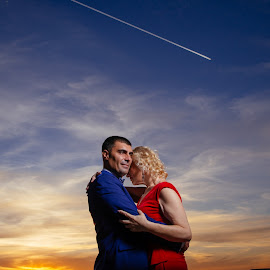 Colors of love by Bugarin Dejan - Wedding Other ( expression, clouds, face, beautiful, posing, pretty, people, portrait, looking, love, sky, color, sunset, happy, lovely, couple, view )