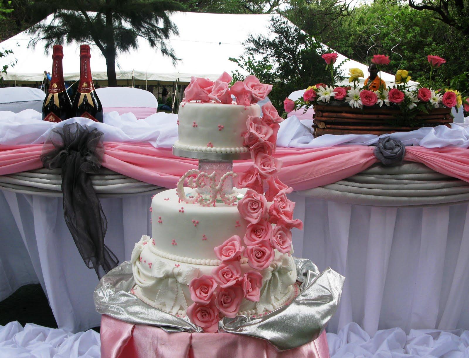 This three-tier wedding cake