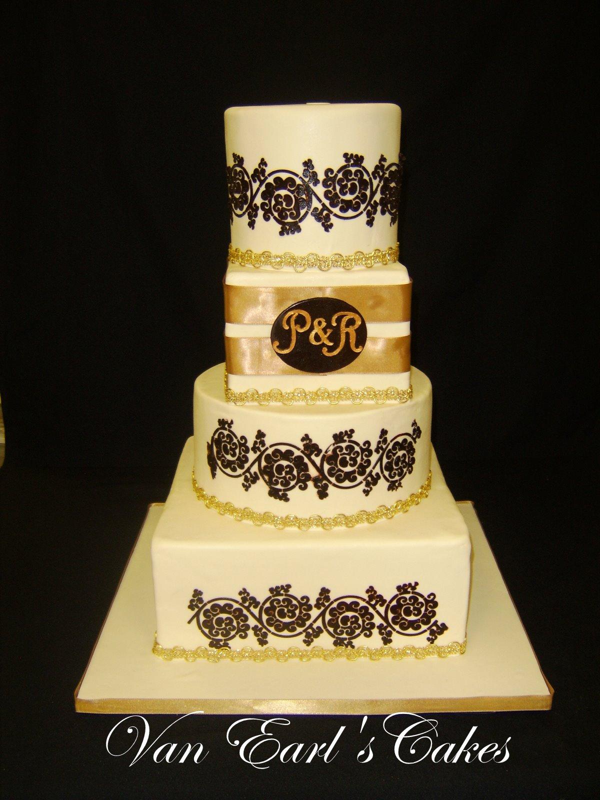Brown Damask Wedding Cake