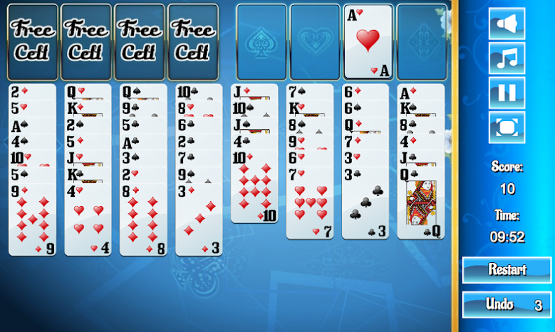 Classic Freecell Solitaire Screenshot