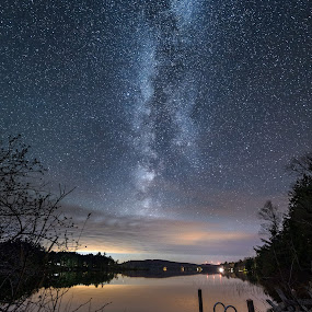 Milky Way over Silver Lake, Lee, Maine by Aaron Priest - Landscapes Starscapes ( vega, lee, night photography, maine, silver lake, long exposure, night, night sky, milky way )