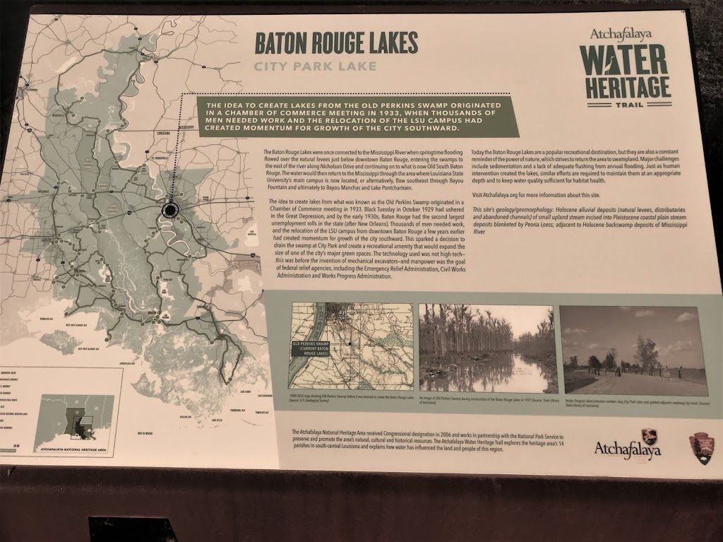 The idea to create lakes from the old Perkins Swamp originated in a Chamber of Commerce meeting in 1933, when thousands of men needed work and the relocation of the LSU campus had created momentum ...