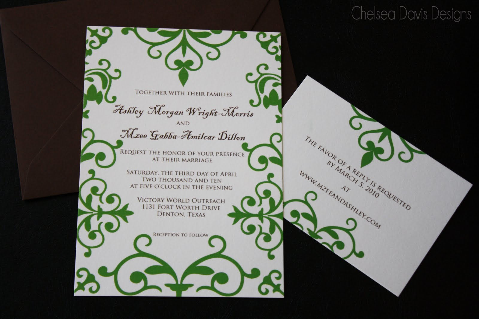 Green Swirl Wedding Invitation