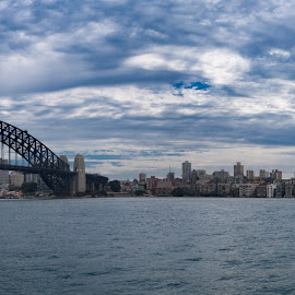 Morning By The Harbour by Nelson da Fonte - City,  Street & Park  Skylines ( water, harbour, bridge, sydney )