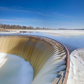 Lake Dam in winter by Eugenijus Rauduve - Landscapes Waterscapes ( water, ice, snow, dam, lake )