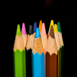 colored pencils by Empty Deebee - Abstract Macro ( orange, colored pencil, red, blue, color, green, colors, pink, brown, yellow, colored pencils, black )