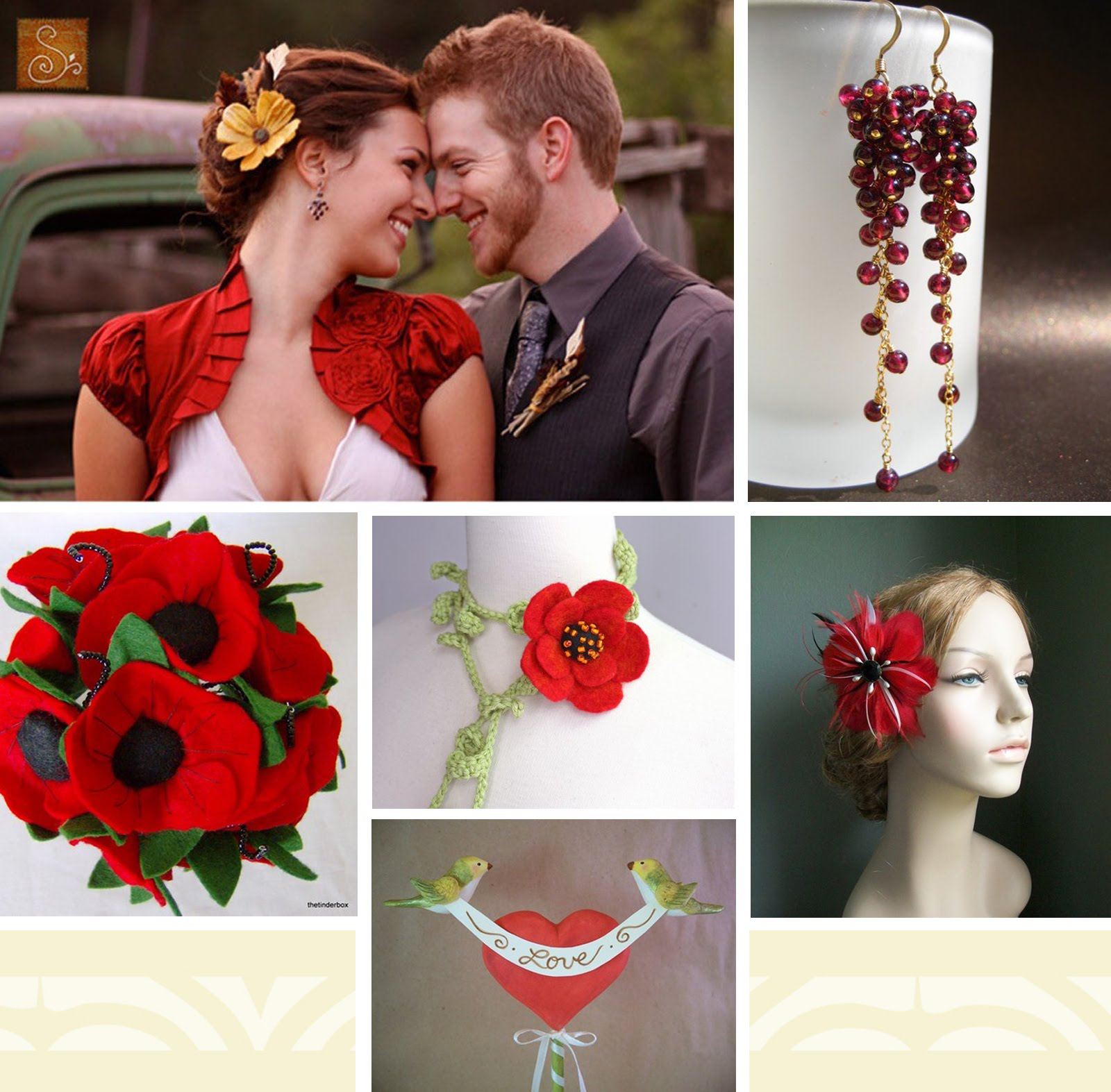 red flower wedding bouquets