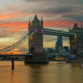Sunset on the Thames - Tower Bridge by Jaideep Abraham - Buildings & Architecture Bridges & Suspended Structures ( water, holiday, england, london, colorful, sunset, tower bridge, travel, slow shutter, historic, united kingdom, river )