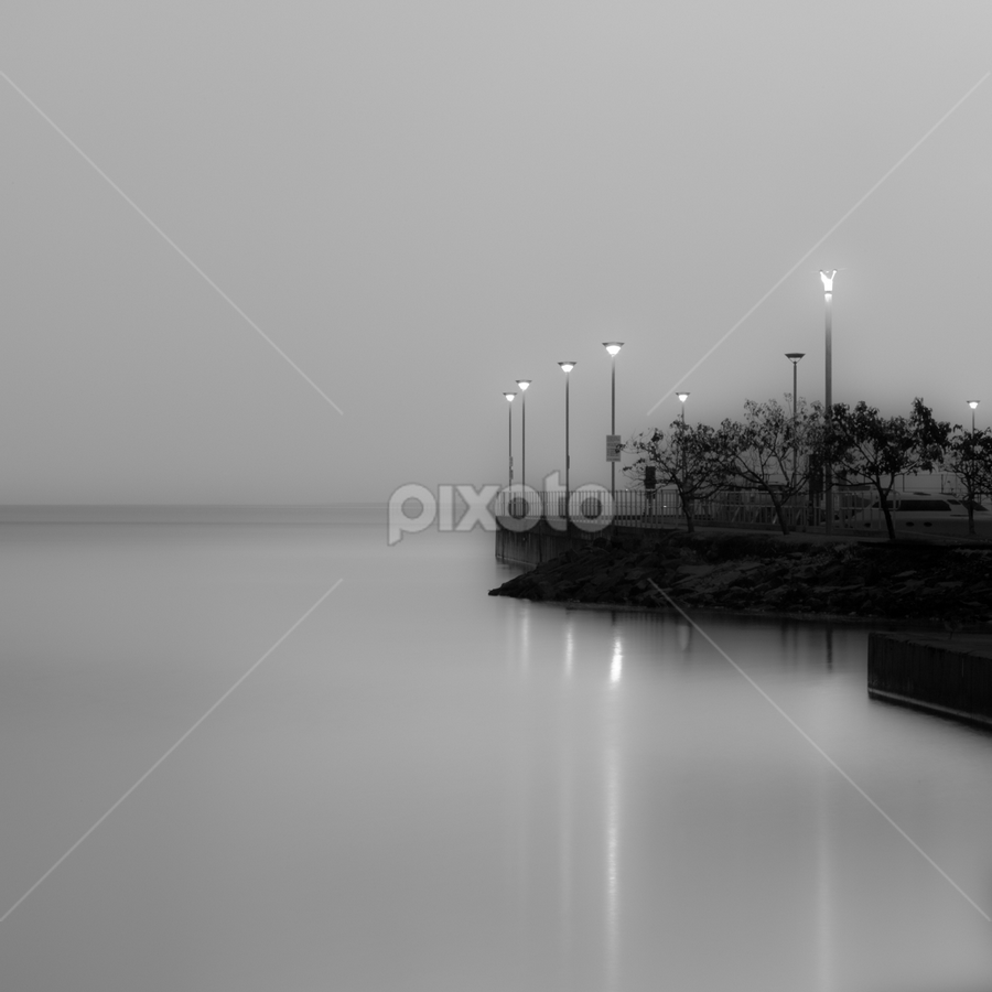 The Pier by David Millard - Landscapes Travel ( water, cairns, dreamy, pier, night, black&white )