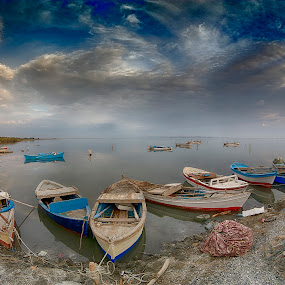 ... by Hale Yeşiloğlu - Transportation Boats ( karina, turkey, clouds, boats, travel )