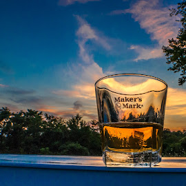 by Kevin Turner - Food & Drink Alcohol & Drinks ( bourbon, whiskey, pool, sunset, drink )