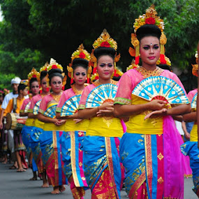 The Dancer Line by Yoga Amerta - City,  Street & Park  Street Scenes ( balinese, event, street, people, dancer, culture )