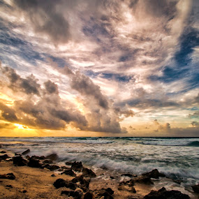 Cuzumel sunrise by Cristobal Garciaferro Rubio - Landscapes Waterscapes ( water, clouds, sky, waves, cozumel, beach, rocks )