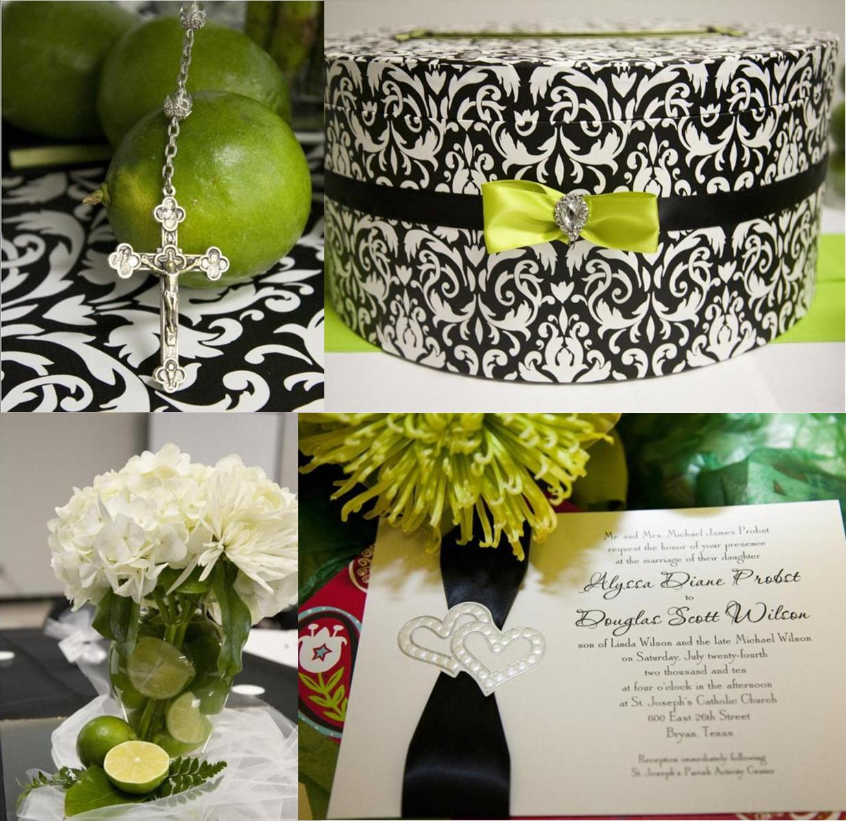 black and lime green wedding