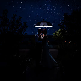 Whatever the weather, we're better together by Paul Duane - Wedding Bride & Groom ( kiss, stars, wedding, nightsky, bride )