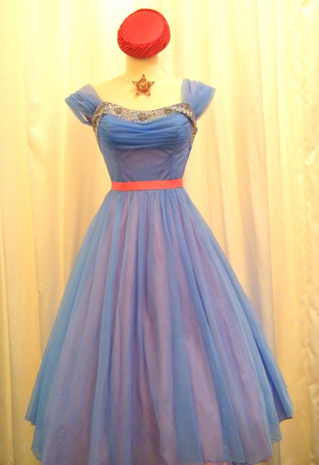 1950s blue organza prom dress