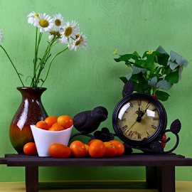 Spring by Dipali S - Artistic Objects Still Life ( ideas, orange, vase, fruit, clockwise, clock, elegance, still life, watch, dial, jewelry, oranges, luxury, time, artistic, instrument of time, flowers, antique, objects )