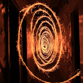Starry Eyed by Graeme Garton - Abstract Light Painting ( light painting, sparkler, firework, hall way, corridor, sparks, warehouse, tunnel )
