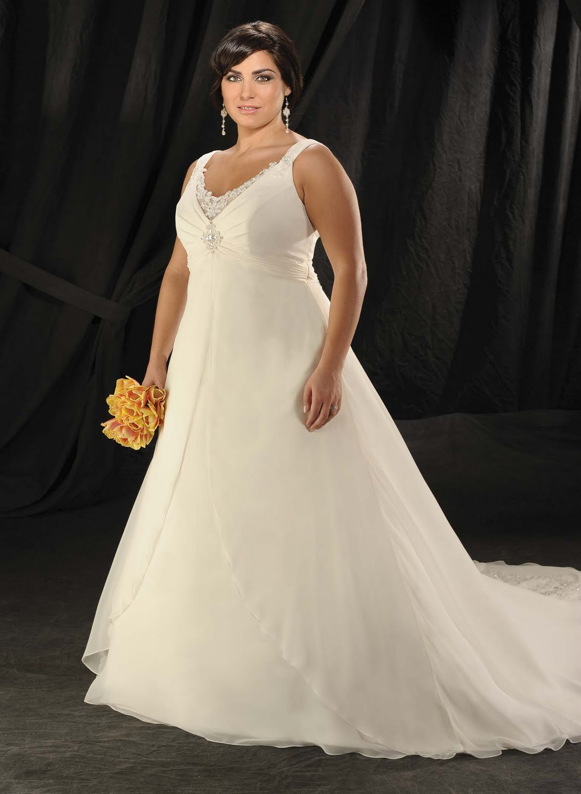 Chiffon wedding gown and