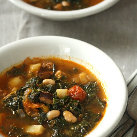 Portuguese Kale Soup with Linguica and Cherry Tomatoes