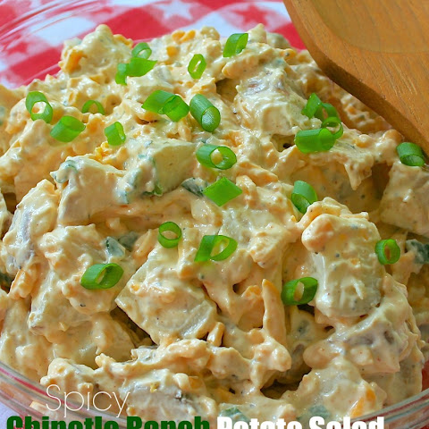 Spicy Chipotle Ranch Potato Salad with Bacon, Cheddar & Green Onions