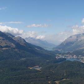 Pontresina, Muottas Muragl, Graubünden, Switzerland by Serguei Ouklonski - Landscapes Mountains & Hills ( sky, mountain, outdoors, cloud - sky, nature, sunset, sun, landscape, scenics )
