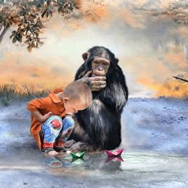 by Kathryn Potempski - Digital Art Animals ( chimpanzee, art, digital art, play, digital drawing, boy, people, photography )