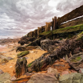 Groynes by Dave Smith - Digital Art Places