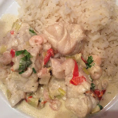 Monkfish and Prawns in Moscatel Wine and Cream with Rice