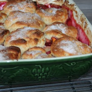 White Peach & Raspberry Cobbler with Butter Biscuits